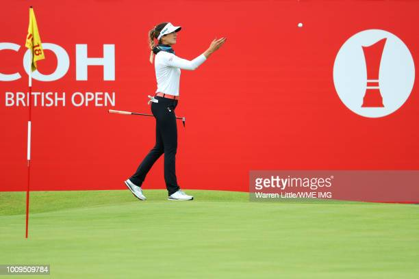 Sandra Gal of Germany throws her ball on the 18th green during the first round of the Ricoh Women's British Open at Royal Lytham St Annes on August 2...