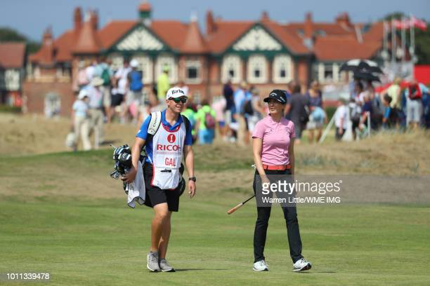 Sandra Gal of Germany walks down the 2nd hole during the final round of the Ricoh Women's British Open at Royal Lytham St Annes on August 5 2018 in...