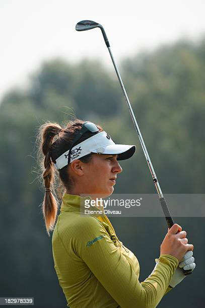 Sandra Gal of Germany watches her shot during the first round of the Reignwood LPGA Classic at Pine Valley Golf Club on October 3 2013 in Beijing...