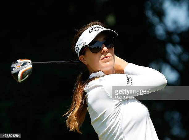 Sandra Gal of Germany watches her tee shot on the 15h hole during the first round of the Meijer LPGA Classic at Blythefield Country Club on August 7...