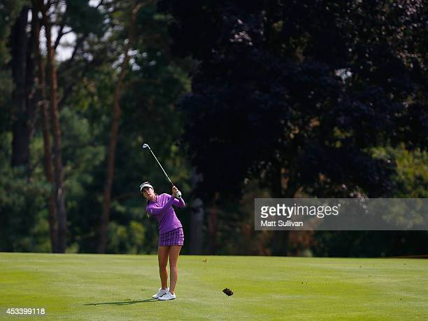 Sandra Gal of Germany watches her third shot on the first hole during the third round of the Meijer LPGA Classic at Blythefield Country Club on...
