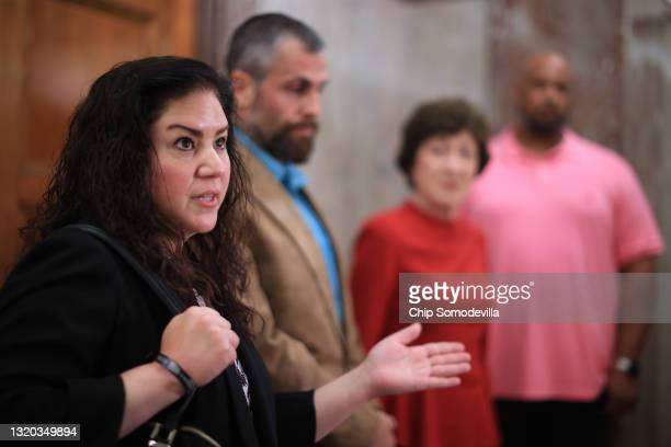 Sandra Garza, girlfriend of the late Capitol Police officer Brian Sicknick, speaks about her support of a January 6 commission following a meeting...