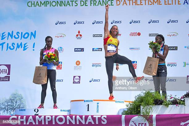 Sandra Gomis Cindy Billaud and Aisseta Diawara during the French Championship Athletic at Parc des Sports du Lac de Maine Josette Roger Mikulak on...