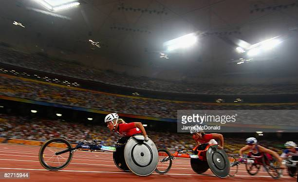 Sandra Graf of Switzerland competes in the Women's 5000m -T54 Final Athletics event at the National Stadium during day two ot the 2008 Paralympic...