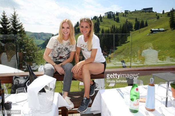 """Sandra Gries, Depot, and Sandra Abt during the first Ladies Day and start of the """"Queens Club"""" hosted by Maria Hoefl-Riesch on June 26, 2020 at..."""
