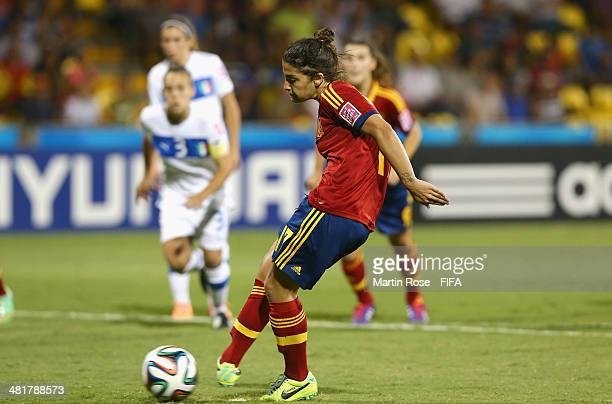 Sandra Hernandez of Spain scores the opening goal with a penalty during the FIFA U17 Women's World Cup 2014 semi final match between Italy and Spain...