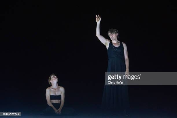 Sandra Hueller and Jens Harzer during the rehearsal of 'Penthesilea' for the Salzburg Festival 2018 at Salzburg State Theatre on July 27 2018 in...