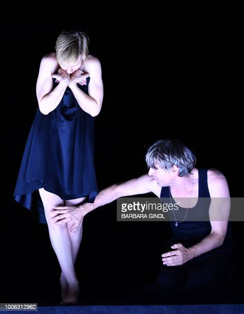 Sandra Hueller and Jens Harzer perform during a dress rehearsal of Penthesilea at the Salzburger Landestheater in Salzburg on July 27 2018 The Drama...