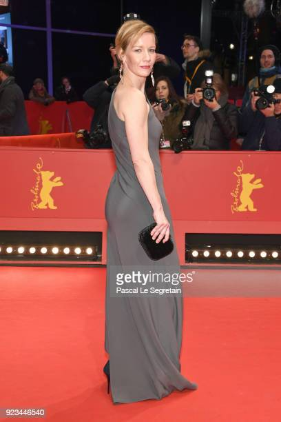 Sandra Hueller attends the 'In the Aisles' premiere during the 68th Berlinale International Film Festival Berlin at Berlinale Palast on February 23...