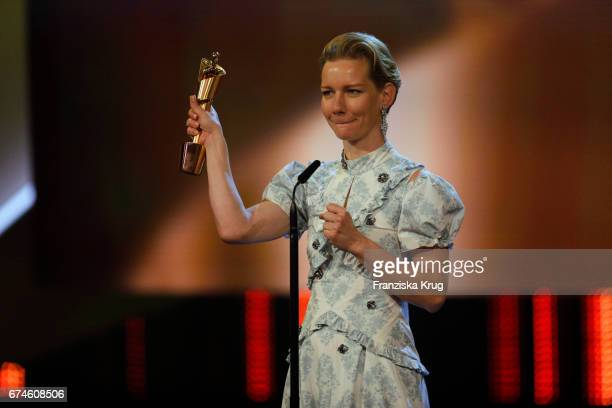 Sandra Hueller gives after receiving the Award for Best Actress at the Lola German Film Award show at Messe Berlin on April 28 2017 in Berlin Germany