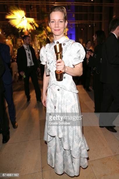 Sandra Hueller with award during the Lola German Film Award after party at Palais am Funkturm on April 28 2017 in Berlin Germany