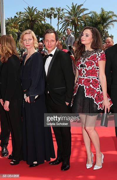 Sandra Huller Trystan Putter and Ingrid Bisu attend the Toni Erdmann premiere during the 69th annual Cannes Film Festival at the Palais des Festivals...