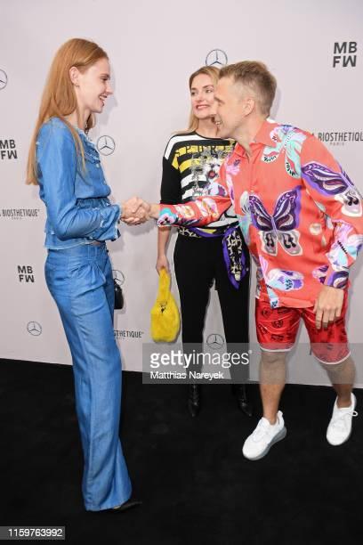 Sandra Hunke Marie von den Benken and Oliver Pocher attend the Sportalm Kitzbuehel show during the Berlin Fashion Week Spring/Summer 2020 at ewerk on...
