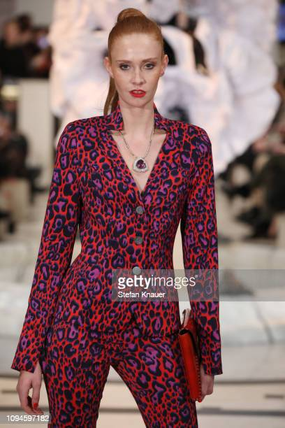 Sandra Hunke walks the runway at the Anja Gockel show during the Berlin Fashion Week Autumn/Winter 2019 at Hotel Adlon on January 15 2019 in Berlin...