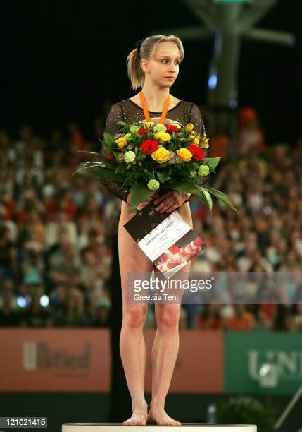 Sandra Izbasa wins the silver medal during the 2007 European Women Artistic Gymnastics Championships in Amsterdam Netherlands on April 28 2007