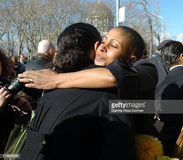 Sandra Jackson and Leslie Parks on the steps of Riverside Church following the funeral service for Photographer Gordon Parks on March 14 2006 in New...