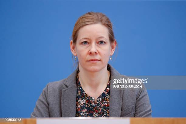 Sandra Junglen head of a working group at the Institute of Virology at Berlin's Charite hospital attends a news conference with the German...