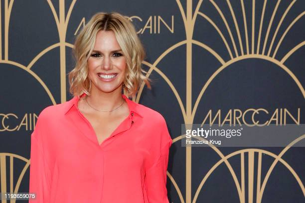 Sandra Kuhn arrives at the Marc Cain show during Berlin Fashion Week Autumn/Winter 2020 at Deutsche Telekom's representative office on January 14...