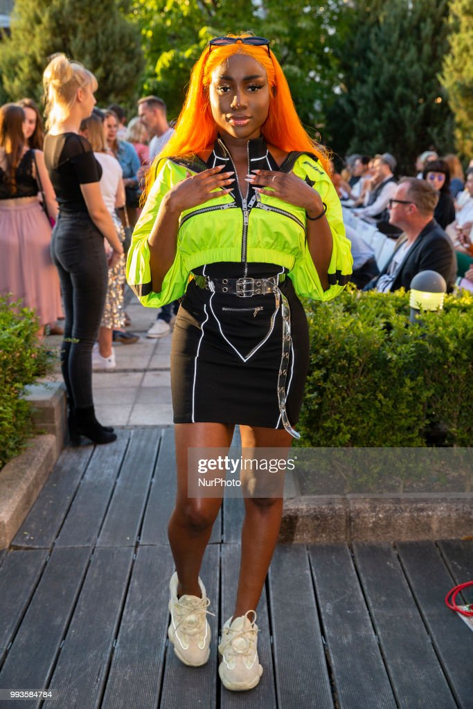 Sandra Lambeck attends the Marcel Ostertag Fashion Show during the Berlin Fashion Week Spring/Summer 2019 in Berlin, Germany on July 4, 2018.