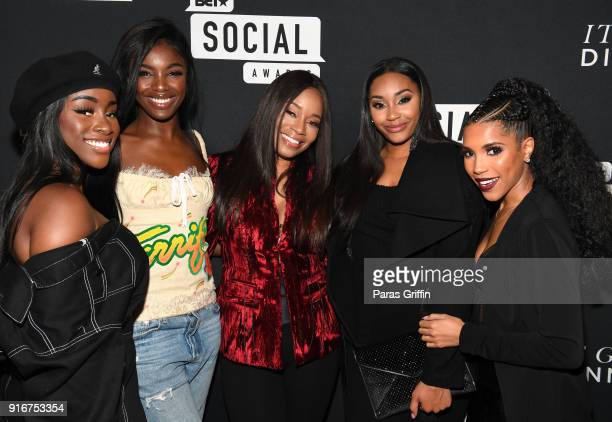Sandra Lambeck Leomie Anderson Connie Orlando Jasmine Luv and Jasmin Brown attend BET's Social Awards 2018 It Girls Welcome Dinner on February 10...