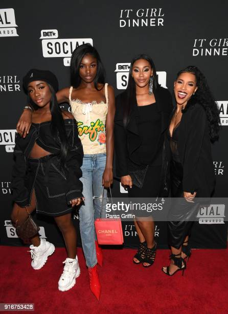 Sandra Lambeck Leomie Anderson Jasmine Luv and Jasmin Brown attend BET's Social Awards 2018 It Girls Welcome Dinner on February 10 2018 in Atlanta...
