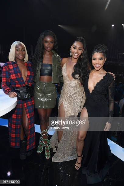 Sandra Lambeck Leomie Anderson Jasmine Luv and Jasmin Brown attend BET's Social Awards 2018 at Tyler Perry Studio on February 11 2018 in Atlanta...