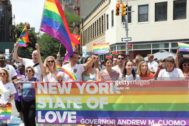 Sandra Lee and Andrew Cuomo attend the 2018 NYC Pride March on June 24 2018 in New York City