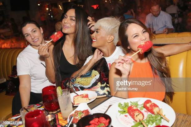 Sandra Lee and guests attend The Flamin Hot Spot Cheetos new limitedtime restaurant with a menu inspired by chef Roy Choi at Madera Kitchen on...