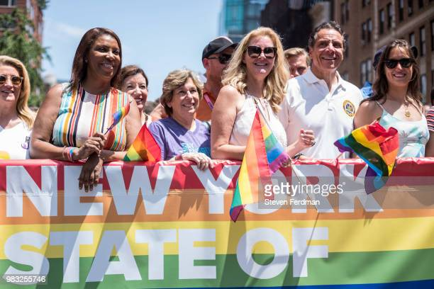 Sandra Lee and New York City Governor Andrew Cuomo attend the 2018 New York City Pride March on June 24 2018 in New York City
