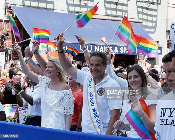 Sandra Lee Governor Andrew Cuomo and Michaela Cuomo participate in the 2016 Pride March in the Stonewall Inn on June 26 2016 in New York City