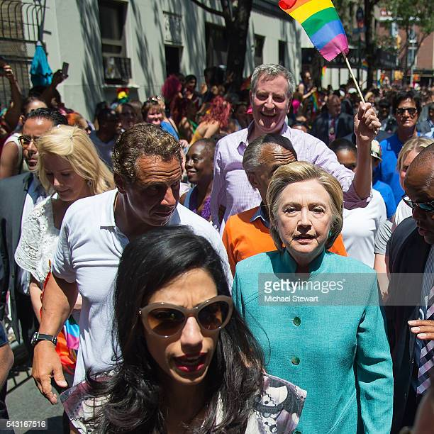 Sandra Lee New York Governor Andrew Cuomo Chirlane McCray Democratic Presidential candidate HIllary Clinton Huma Abedin and New York City Mayor Bill...
