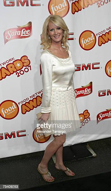 Sandra Lee poses on the red carpet before the Food Network Awards show on February 23 2007 in Miami Beach Florida