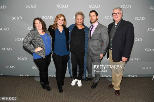 Sandra Leviton Kaila York Alyson Fouse Jeff Greenberg and Christopher Allen attend the Inside the Writers Room panel on Day 1 of the SCAD aTVfest...