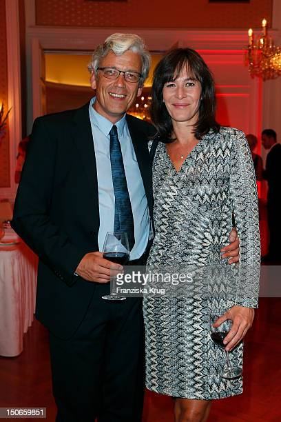 Sandra Maahn and Christoph Goetz attend the Atlantic Hotel re-opening summer party celebration on August 23, 2012 in Hamburg, Germany.