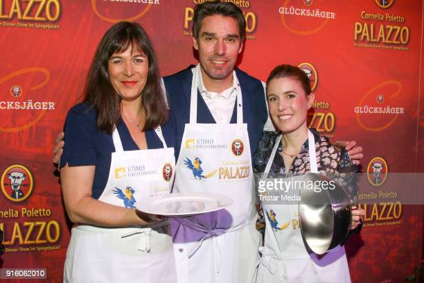 Sandra Maahn, Michael Stich and Janne Meyer-Zimmermann during the Poletto Palazzo Charity Event on February 8, 2018 in Hamburg, Germany.
