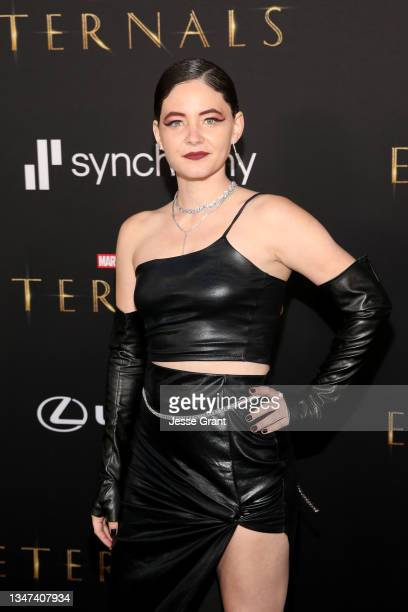 Sandra Mae Frank arrives at the Premiere of Marvel Studios' Eternals on October 18, 2021 in Hollywood, California.