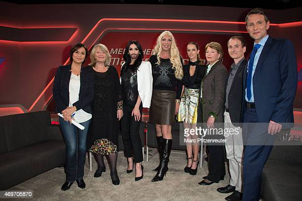 Sandra Maischberger Alice Schwarzer Conchita Wurst Alicia King Nicki King Michaela Freifrau Heereman Johannes Zeller and Bjoern Hoecke attend the...