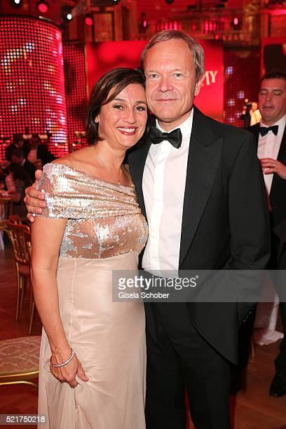 Sandra Maischberger and her husband Jan Kerhart during the 27th ROMY Award 2015 at Hofburg Vienna on April 16 2016 in Vienna Austria