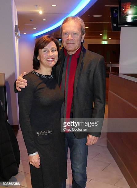 Sandra Maischberger and Jan Kerhart attend 'APASSIONATA Im Bann des Spiegels' VIP Reception In Berlin at MercedesBenz Arena on January 17 2016 in...