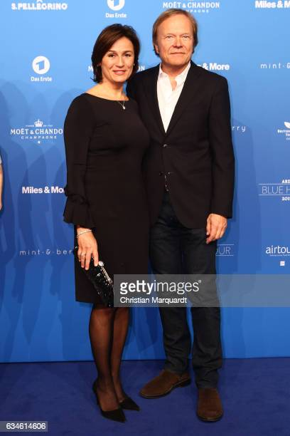 Sandra Maischberger and Jan Kerhart attend the Blue Hour Reception hosted by ARD during the 67th Berlinale International Film Festival Berlin on...