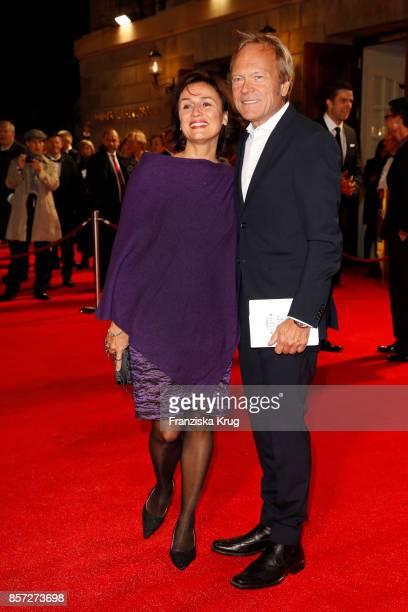 Sandra Maischberger and Jan Kerhart attend the ReOpening of the Staatsoper Unter den Linden on October 3 2017 in Berlin Germany