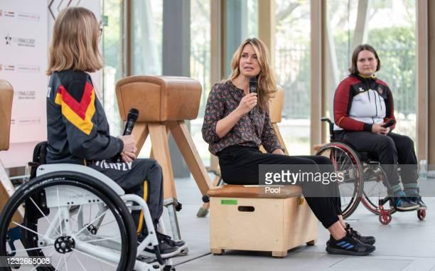 Sandra Mikolaschek, Vice European Champion in para table tennis, moderator Jessy Wellmer and Flora Kliem, para-archer attend a press conference on...