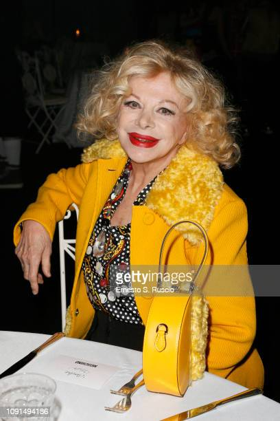 Sandra Milo attends Moschino Menswear Collection Autumn/Winter 2019/20 at Cinecitta on January 08 2019 in Rome Italy
