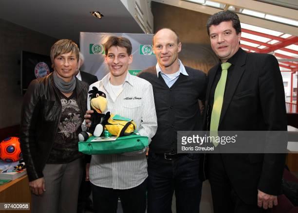 Sandra Minnert, ambassador of Womens World Cup 2011 , Herbert Fandel , former referee and patron of 'Fair ist mehr' and Hans Pfluegler , former FC...