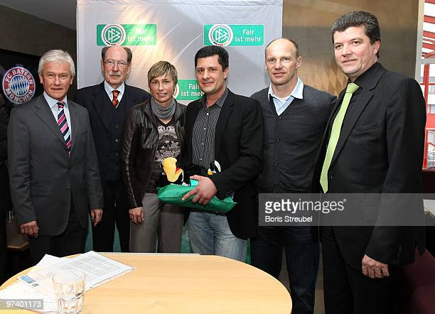 Sandra Minnert ambassador of Womens World Cup 2011 Herbert Fandel former referee and patron of 'Fair ist mehr' and Hans Pfluegler former FC Bayern...