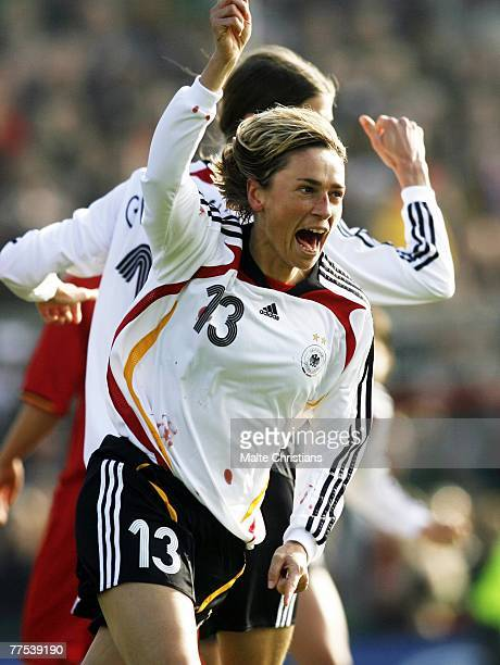 Sandra Minnert of germany celebrates a goal during UEFA Womens European Championship Qualifying match between Germany and Belgium on October 28 2007...