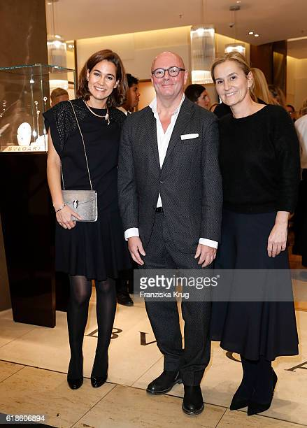 Sandra Mohsni Andre Maeder and Petra Fladenhofer attend the Bulgari cocktail at KaDeWe on October 27 2016 in Berlin Germany