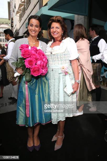 Sandra Mohsni Managing Director Tiffany Co Germany and Babette Albrecht during the 'Fruehstueck bei Tiffany' at Tiffany Store ahead of the...