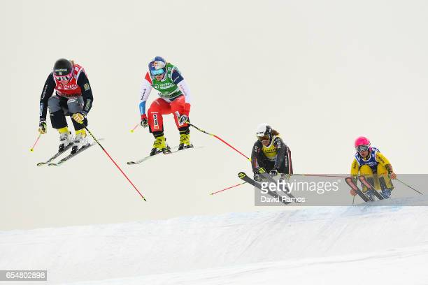 Sandra Naeslund of Sweden Fanny Smith of Switzerland Ophelie David of France and Heidi Zacher of Germany compete in the Women's Ski Cross big final...