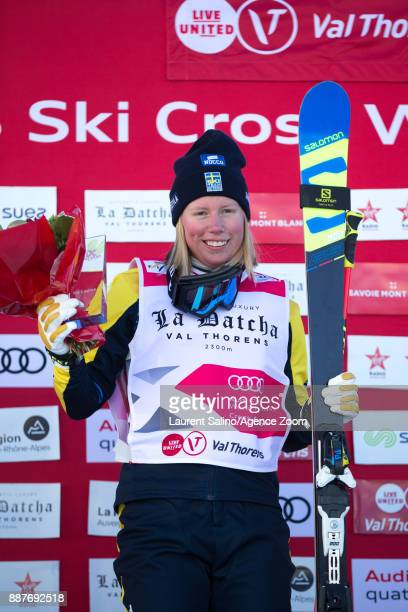 Sandra Naeslund of Sweden takes 1st place during the FIS Freestyle Ski World Cup Men's and Women's Ski Cross on December 7 2017 in Val Thorens France